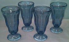 Vintage Anchor Hocking Set of 4 Blue Ice Cream Fountain Glasses w/ Maker Mark