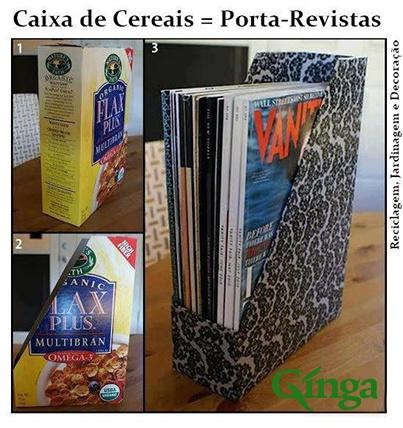 Ideias Ginga para a casa   Porta Revistas feito com embalagem de cereiais