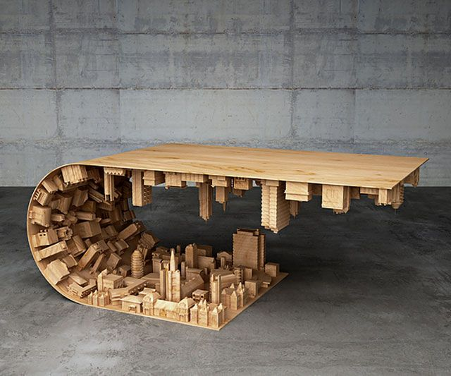 Designer and model maker Stelios Mousarris calls this coffee table his Wave City, but you know this stellar assemblage of a city folding on top of itself comes straight from the trippy scenes of the movie Inception. Mousarris knows it too. And he knows