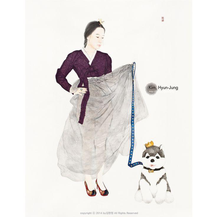 한지 위에 수묵담채, 꼴라쥬 Color and collage on Korean paper 紙本淡彩, 拼贴艺术