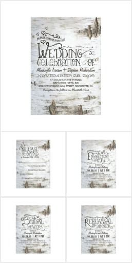 Birch Bark Wedding Set Wedding invitation suite inspired by white beautiful tree - birch. Casual, rustic and vintage wedding invitations RSVP cards, save the date cards, engagement party invitations, thank you cards, and more for your country style wedding with birch and bark decor. Fancy typography, love hearts and white old birch bark design.