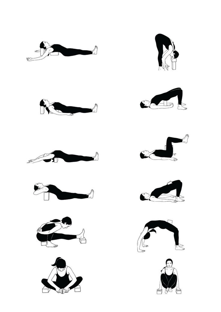 Yoga block ideas - a block held between the inner groins teaches the thighs to draw towards one another which aligns knees and encourages proper pelvic tilt.