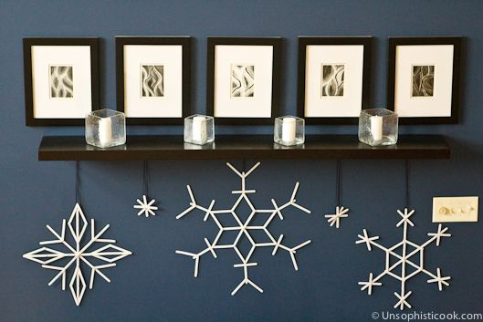 Popsicle Stick Snowflake Craft | Unsophisticook.com -- I just love the way this fun snowflake craft turned out! Crafting with the kids is always fun, plus we were able to spruce up the living room in the process.