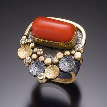 Beth Solomon, Coral Pebble Ring, Sterling, 18k,  22k, diamonds, coral