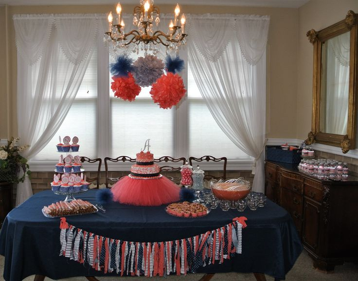 Coral navy and gray baby shower decor
