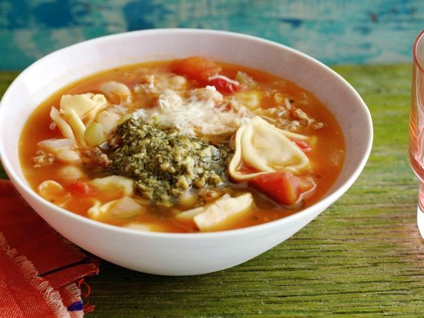 Cut down your time in the kitchen by using store-bought pesto, canned beans and tortellini for this recipe.