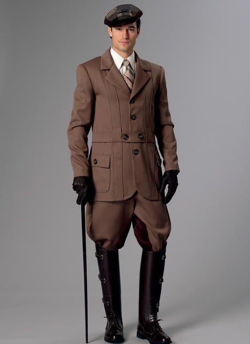 Butterick B6340 Sewing Patterns Men's Victorian Georgian Banded Jacket, Breeches & Jodhpurs Pants Costume Size 46-56