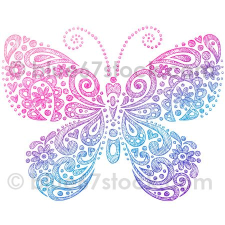 Hand-Drawn Sketchy Paisley Henna Butterfly Notebook Doodle Vector Illustration by blue67stock.com, via Flickr.
