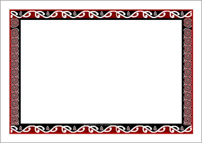 Maori art-themed A4 page borders (SB8033) - SparkleBox