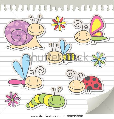 stock vector : set of cartoon insects with snail and flowers