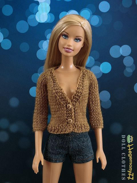 Hand-knit Barbie sweater with tiny, functional buttons!