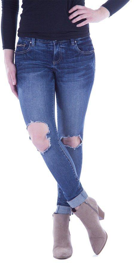 Amethyst Juniors' Amethyst Ripped Cuffed Skinny Jeans