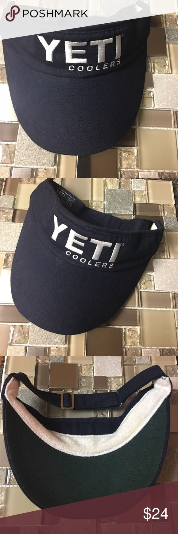 YETI Coolers navy blue and white adjustable visor YETI visor - barely worn - GREAT condition. YETI Accessories Hats