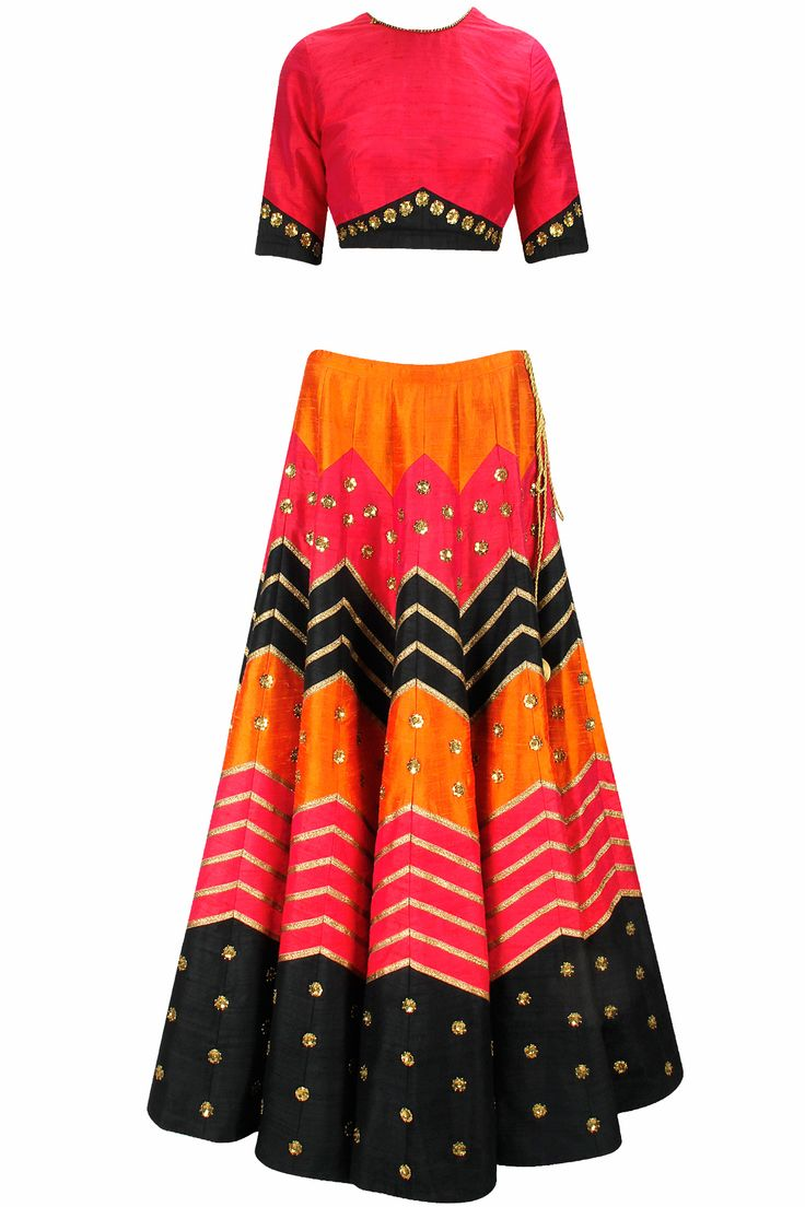Red, black and orange gota line sequins embroidered lehenga set available only at Pernia's Pop-Up Shop.