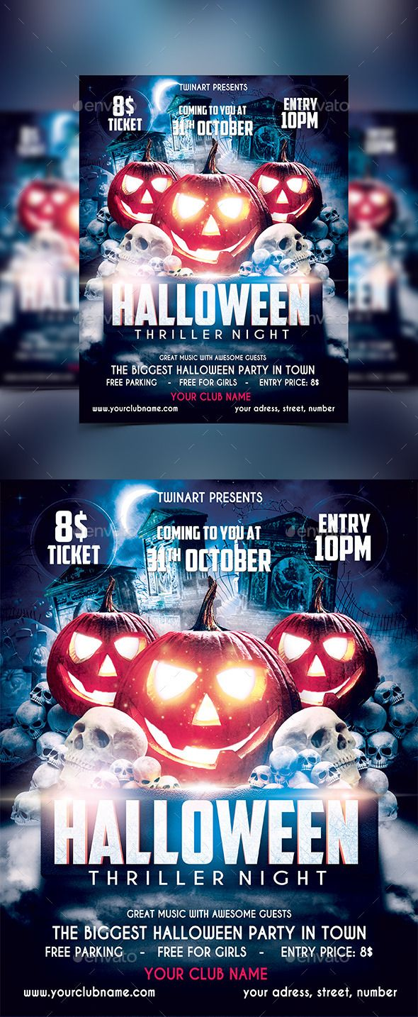Halloween Party Flyer Template PSD #design Download: http://graphicriver.net/item/halloween-party-flyer/13220615?ref=ksioks