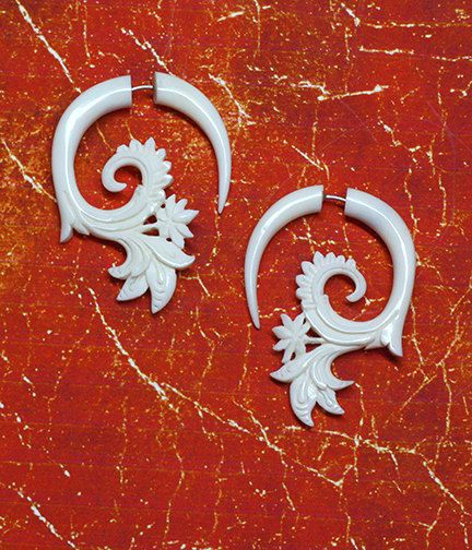 Hey, I found this really awesome Etsy listing at https://www.etsy.com/listing/80183535/fake-gauge-earrings-white-flora-curls