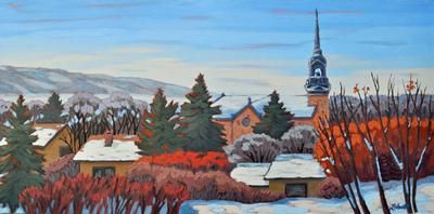 """Sharron Labatt - Cathedral, Lebret Looking West 15 x 30"""" acrylic/canvas 