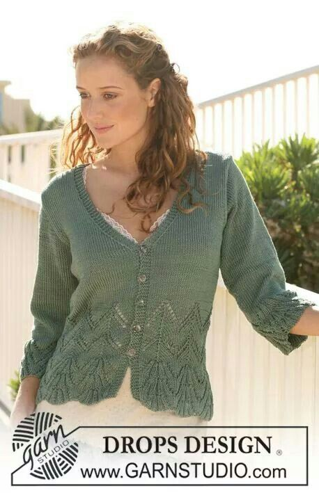 Cotton jacket by Drops. Free pattern.