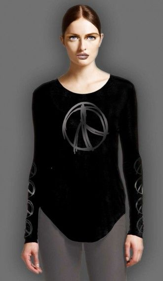 Glitter Pewter Peace Warrior Black long sleeve tee