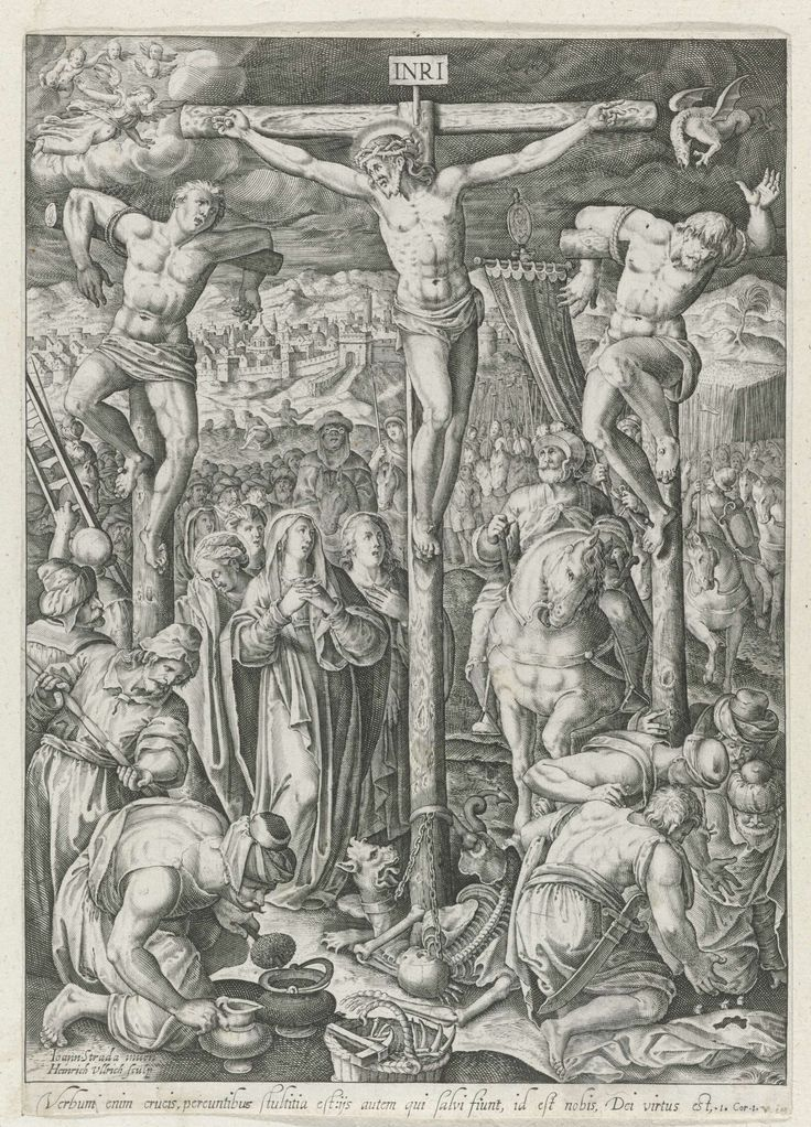 Heinrich Ulrich | Golgotha, Heinrich Ulrich, c. 1595 - before 1622 | De drie kruisen op de berg Golgotha. Christu kijkt naar een van de twee zondaars. Onder zijn kruis staan Maria en Johannes. Aan de voet van het kruis een  doodshoofd en een geketend monster. Op de voorgrond soldaten die de spons in de azijn dopen en de kleding van Christus verdobbelen. Met veel omstanders en op de achtergrond het gezicht op Jeruzalem. In de lucht links een groep engelen, rechts een draak. Met een regel…