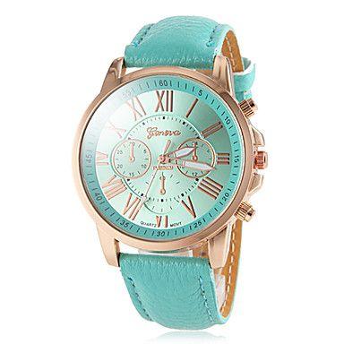 EUR € 7.99 - oro ronda caso número romano de las mujeres marcar reloj de pulsera de cuarzo analógico banda de pu (colores surtidos), ¡Envío Gratis para Todos los Gadgets!