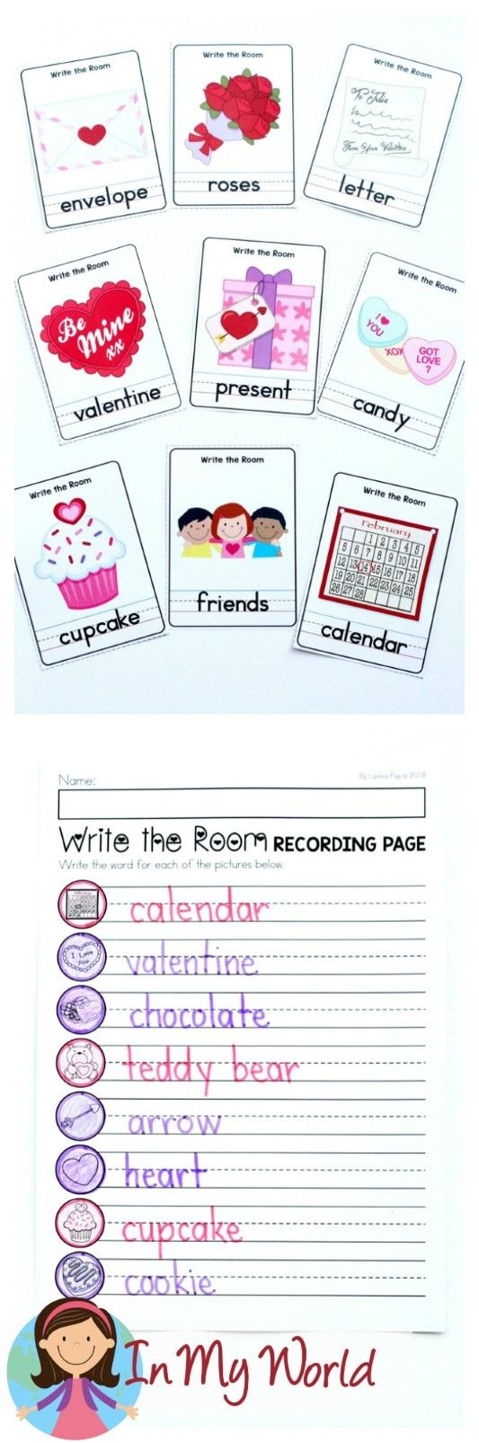 FREE Valentine's Day Literacy Centers for Kindergarten. Write the Room.