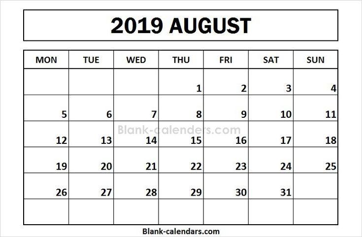 printable august 2019 calendar monday start