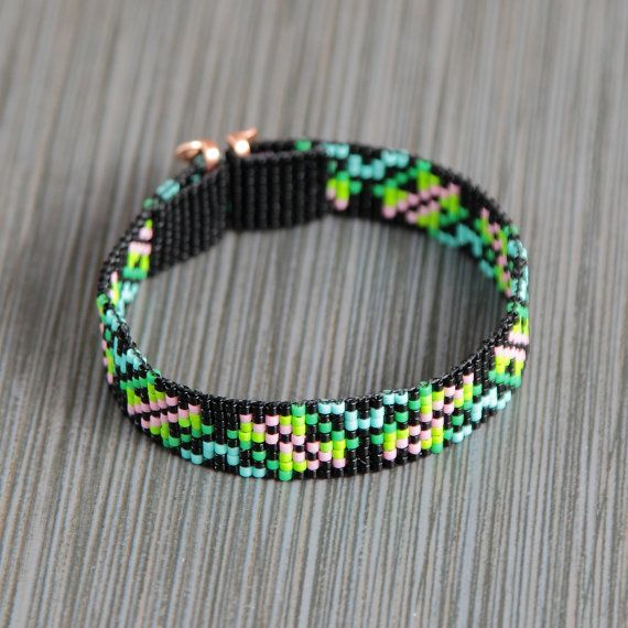 This Tiny Rainforest Bead Loom bracelet was inspired by all the beautiful Native and Latin American patterns I see around me in Albuquerque, New