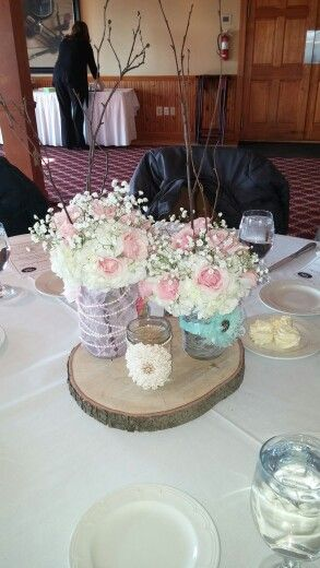 Shabby Chic Rustic baby shower pink and mint mason jars