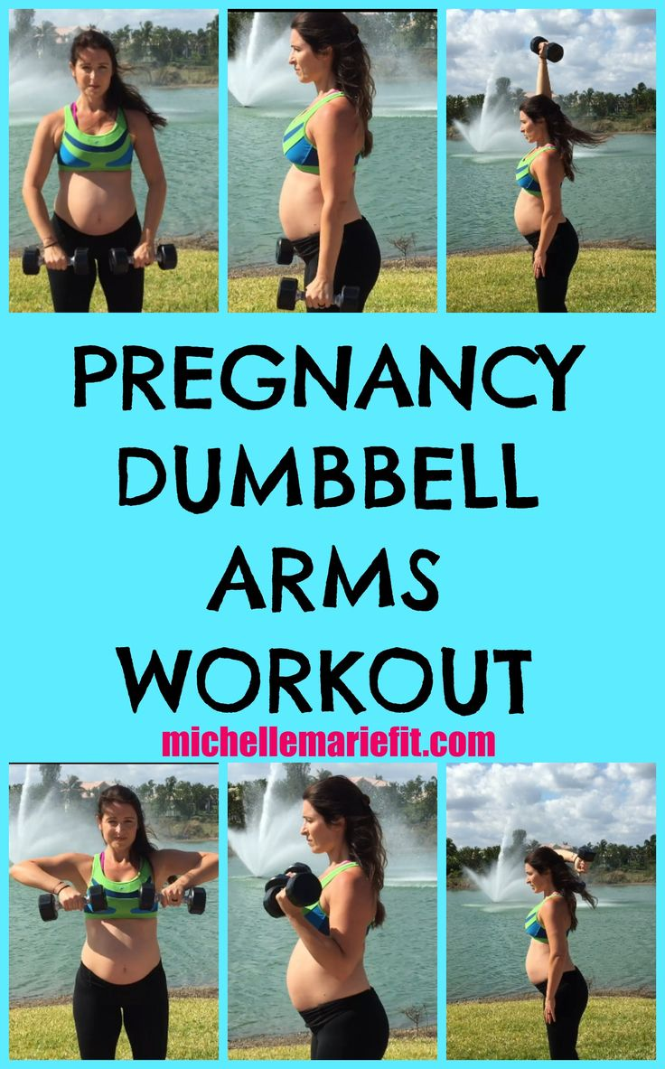 15 Minute Pregnancy Dumbbell Arms Workout.  Do at home with one set of dumbbells to help not get flabby arms during pregnancy.