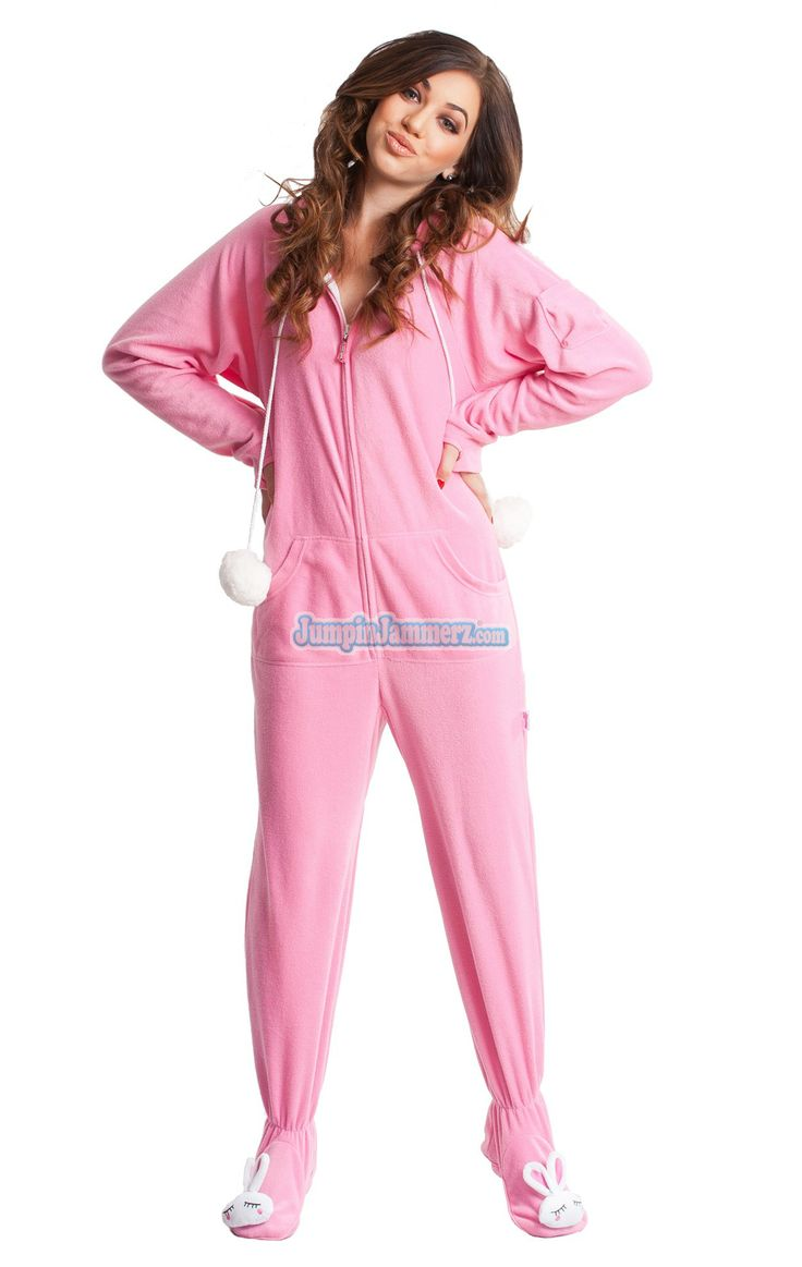 Bunnylicious Drop Seat Hooded Footed Pajamas Features