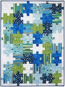 Great quilt for a little boy - love the colors and the splashes of white..