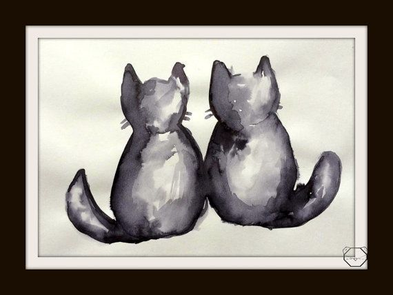 Black Cat Painting  ink painting  Cat painting  by KubuHandmade
