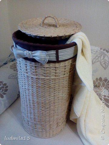 Поделка изделие Плетение большая корзина Бумага газетная Трубочки бумажные фото 2
