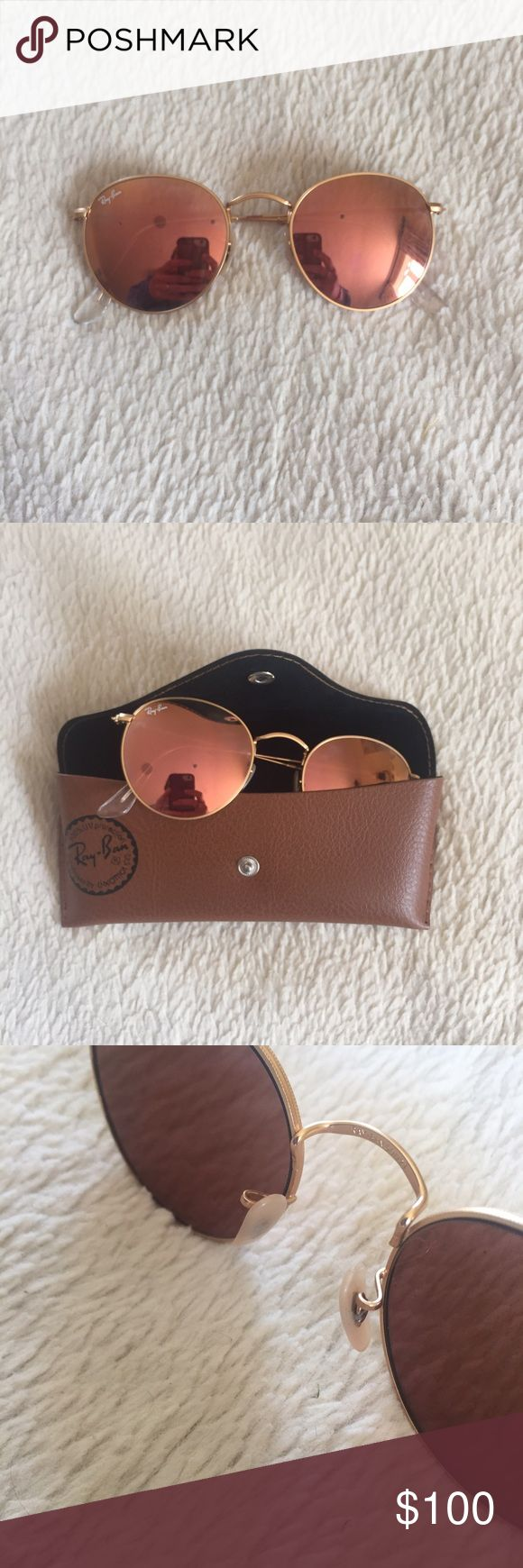 Pink Reflective Circle Ray Bans 100% authentic Ray Bans. Pink reflective. Circle shaped. In amazing condition. No scratches or bends. Comes with case! Let me know if you have questions Ray Bans Accessories Sunglasses