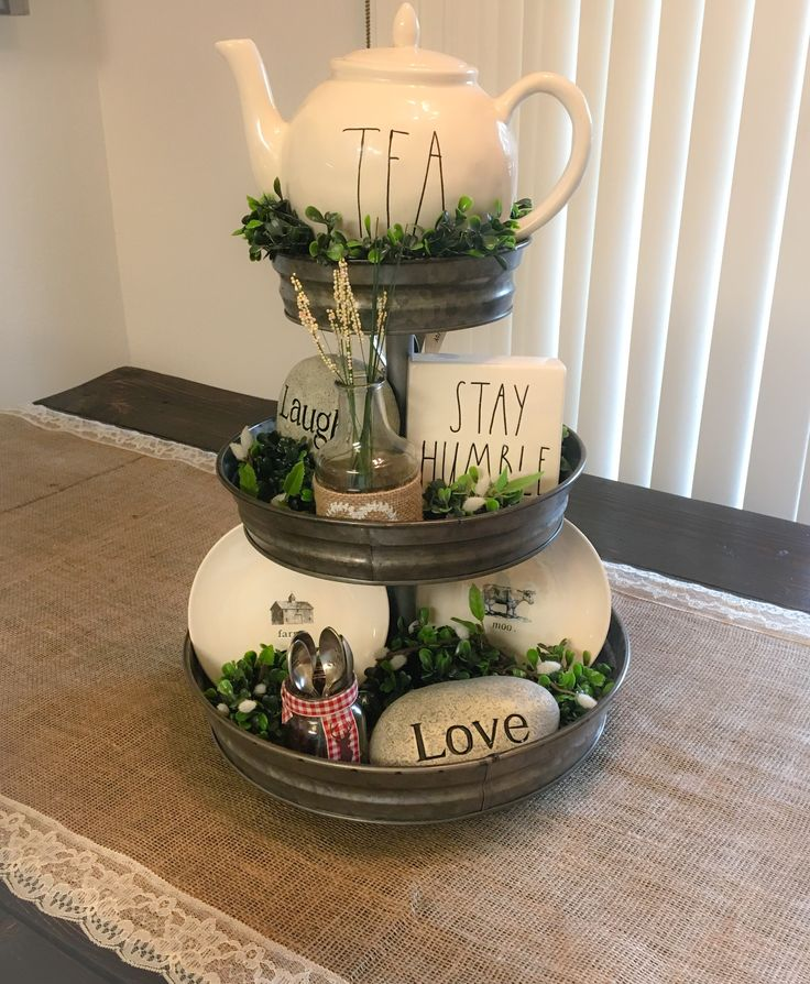 my everyday rae dunn inspired farmhouse table centerpiece 3 tier stand from hobby lobby