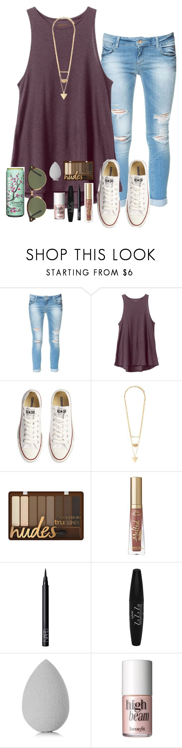 """getting my haircut tomorrow!!"" by torideckerrr ❤ liked on Polyvore featuring Zara, RVCA, Converse, Forever 21, Too Faced Cosmetics, NARS Cosmetics, NYX, beautyblender, Benefit and Ray-Ban"