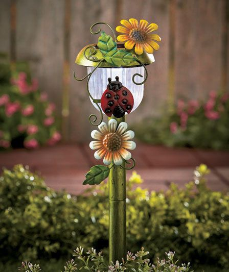 Solar Ladybug Light Stake Path Lights Garden Yard