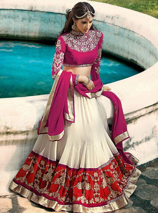 USD 110.17 White Georgette Wedding Lehenga Choli 44621