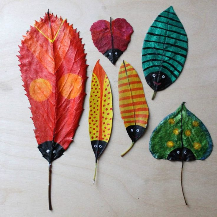 What a great idea to use leaves as your canvas for a mini beast print!