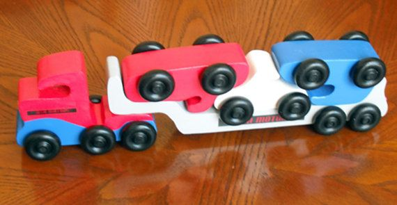 USA Motors car Carrier Wooden car carrier Red by PawPawsWorkshop