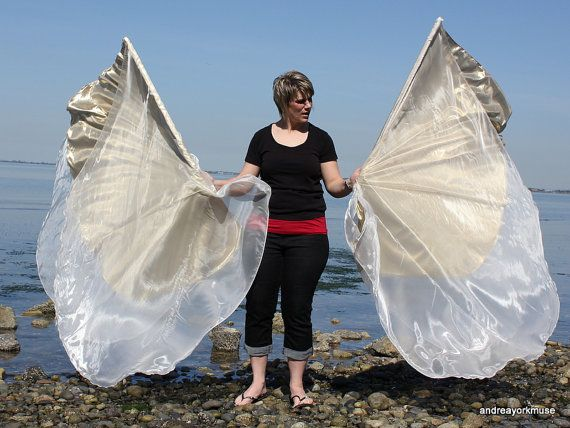 2 Triple layer angel wings Worship Flags by andreayorkmuse on Etsy, $95.00