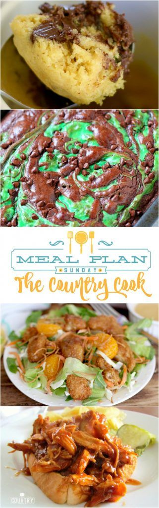 Meal Plan Sunday at The Country Cook. Recipes include: Crock Pot BBQ Shredded Chicken, Copycat Applebee's Oriental Chicken Salad, Baked Reuben Casserole, The Best Marinated Grilled Chicken, Potato Packets, Mint Brownies and Chocolate Chip Cookie in a Mug!