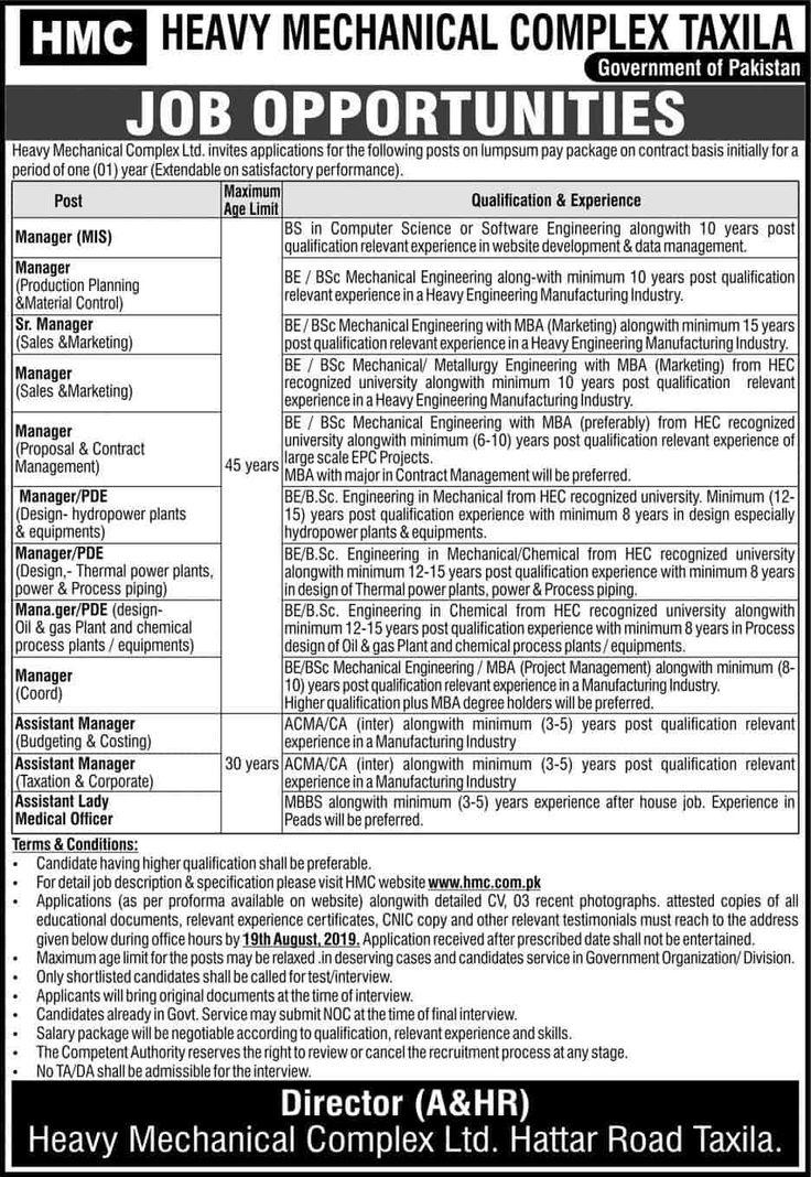 Heavy Mechanical Complex HMC Taxila Jobs 2019