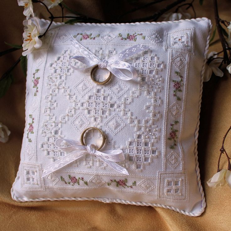 Hardanger Embroidery Wedding Ring Bearer Pillow with beads and crystals.