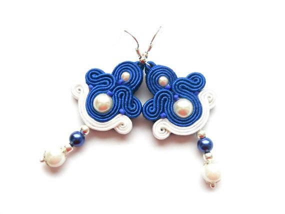 Soutache earrings in cobalt and white. With by SoutacheByMolicka