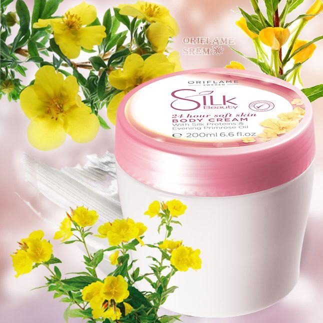 31279-Silk Beauty krema za telo sa hranljivim uljem noćurka i proteinima svile kožu čine neverovatno mekom i negovanom tokom 24-časa.200ml.