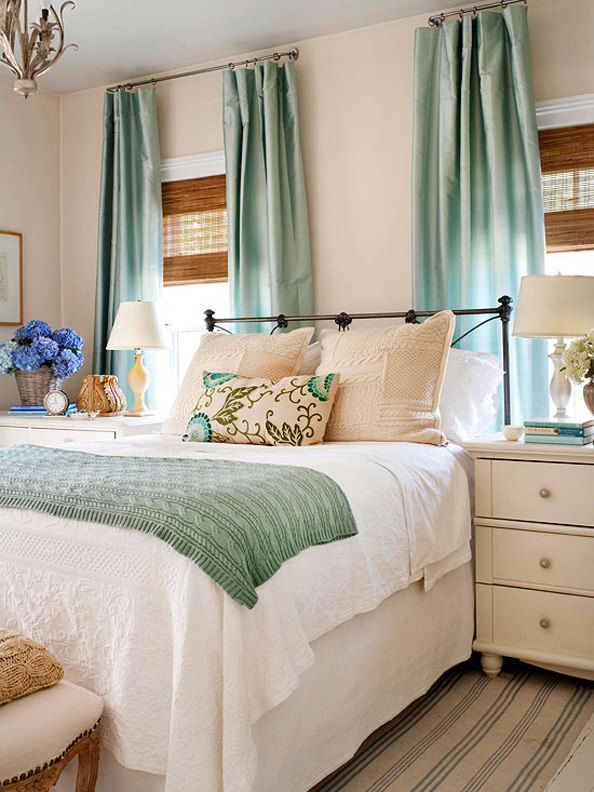 choosing furniture for small spaces i also love the teal and tan color scheme in this bedroom