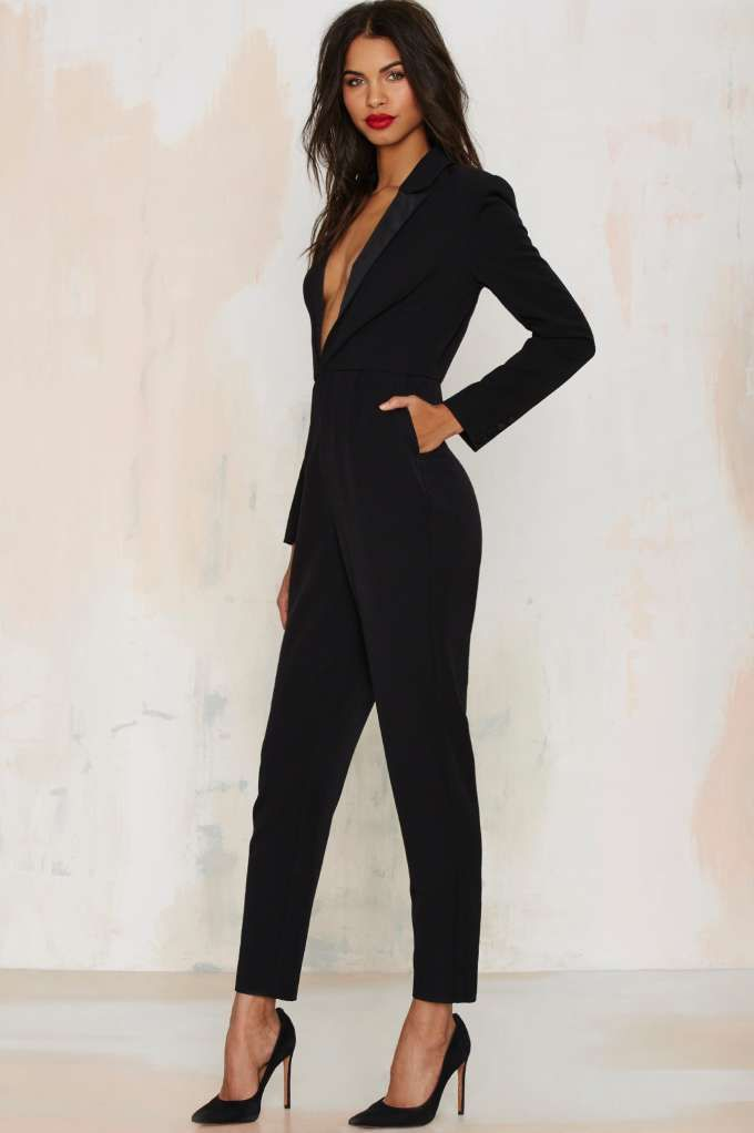 The Like a Boss Jumpsuit is made in a soft black twill and features satin tuxedo collar
