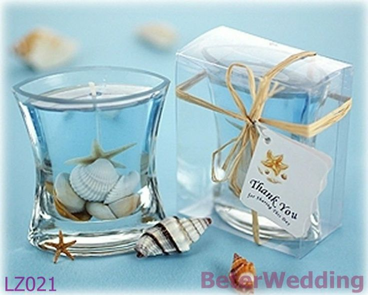 wedding gifts wholesale seashells gel candle in clear gift box with raffia tiewedding favors